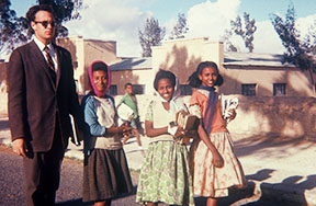 PCV John Stauffer and girls in Adi  Caieh, Eritrea
