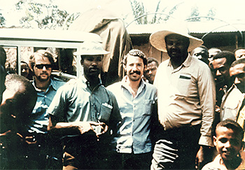Dr. Ciro de Quadros (center), working on smallpox eradication efforts, in southern Ethiopia in 1971. At the left, PCV Marc Strassburg (Jimma 70–72) [photo: Sabin Vaccine Institute]