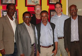 l-r rear: Doug and PC/Ethiopia Country Director Brennan B, front: Former Ras Desta School 9C students, Yohannes Gebregeoris, Eshetu Gixaw, Tafesse Mesfin, Zelalem Wakwyo.