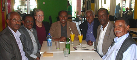 l-r: Zelalem Wakeyo (lawyer in private practice); Eshetu Gizaw (electrical engineer and owner of a successful electrical business); Doug Mickelson (RPCV); Kassaye Chemada (Brigadier General, retired); Medhane Zeratsion (statistician retired); Yohannes Gebregeorgis (librarian); Tafesse Mesfin (veterinarian and researcher of veterinarian medicine).