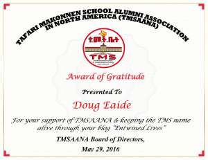 Award of Gratitude to Doug Eadie