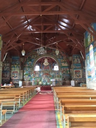 The interior of the Catholic church and its beautiful artwork