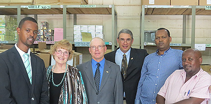 from left: Paul Evangelista, Nancy Sturtevant, Bob Sturtivent, CSU VP of PR, Dean of Wondo Genet, manager of main store